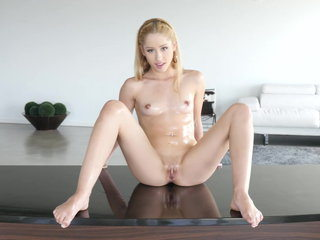 Blond Asian nubile taking a fat cock