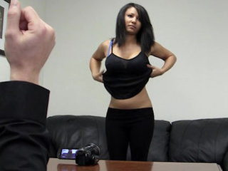 Girl leaned over the desk and fucked from behind