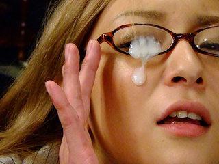 Slutty Asian darling gets her glasses creamed